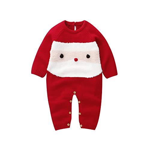 vpuquuz Neugeborenes Dickes Weihnachten Overall Gestrickten Pullover für Kleinkind Baby Junge Mädchen Hirsch Warme Winter Outfits Kleidung Strampler (E, 6-12M)