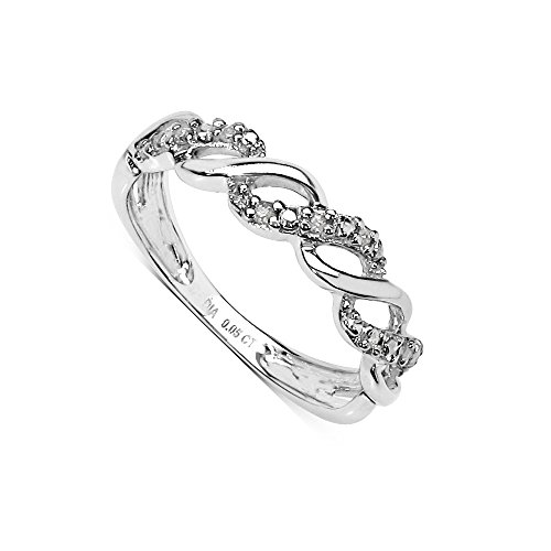 The Diamond Ring Collection: Beautiful 9CT White Gold 0.05CT Diamond 3 Row on the Twist Eternity Ring (Size M)