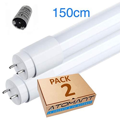 Pack 2x Tubo LED 150cm 24w. Color Blanco frío (6500K). Standard T8 G13. 2200 lumenes. Cebador LED incluido. A++