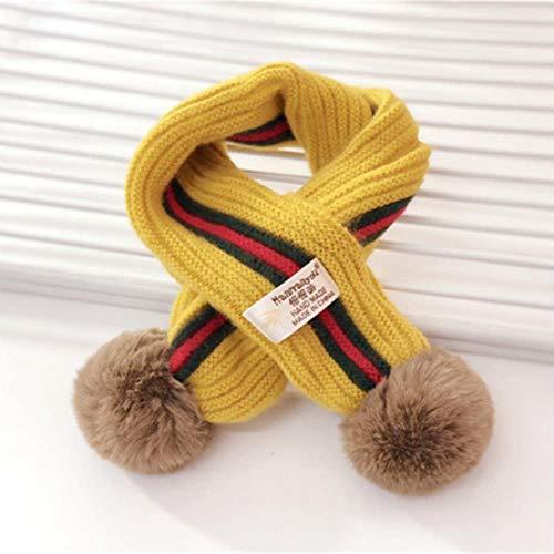 LASISZ Kids Winter Sjaal Pompom Baby Sjaal Jongens Meisjes Warm Sjaals Breien Faux Bont Ballen kruising vorm Kinderen Ring Sjaal