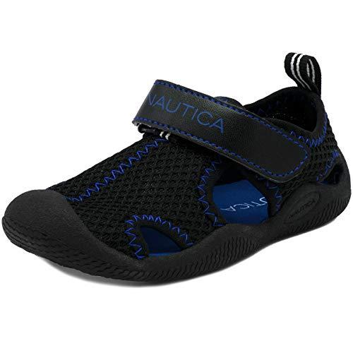 Nautica Kids Kettle Gulf Protective Water Shoe,Closed-Toe Sport Sandal-Black Mesh Cobal-11
