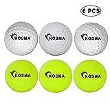 Kosma Set di 6 palline da hockey Dimple | Palline da allenamento in PVC per sport all'aria aperta (3 pezzi ciascuno di giallo, bianco)