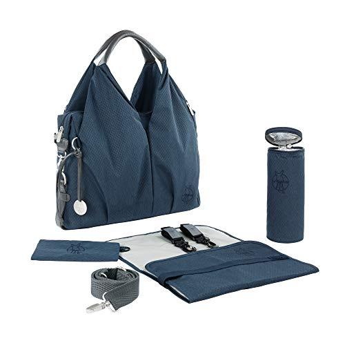 LÄSSIG Baby Wickeltasche nachhaltig inkl. Wickelzubehör nachhaltig produziert/Green Label Neckline Bag, blau mélange