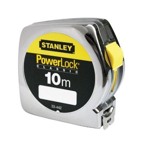 Stanley Bandmaß Powerlock (Kunststoffgehäuse, 10 m Länge, 25 mm Breite, metrische Skalierung, Gürtelclip) 1-33-442