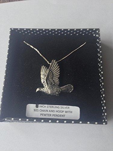 B34 Woodpigeon - Collar de plata de ley 925 hecho a mano con cadena de 45,7 cm con prideindetails caja de regalo