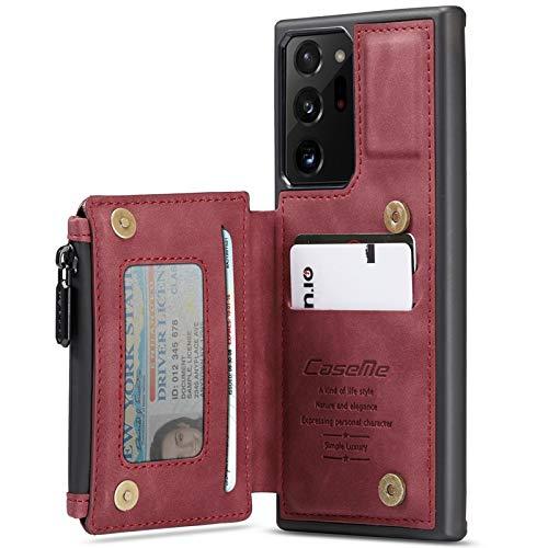 Capa para Samsung Galaxy Note 20 Ultra carteira com suporte para cartão de crédito, [bloqueio RFID] Capa de couro premium com zíper para bolso para dinheiro, suporte durável, à prova de choque (vermelha)