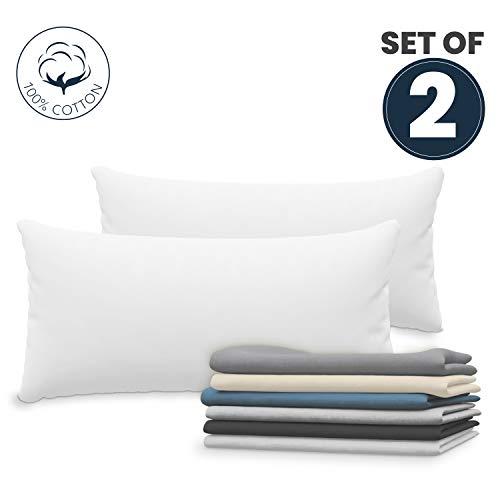 Dreamzie Set mit 2X Kissenbezüge 40x80 cm Weiß Baumwolle 100% Jersey Baumwolle - Kissenhülle 2er Pack 40x80 - Bettwäsche Doppelbett Kissenbezug - Kissen Schoner - Resistent und Hypoallergen