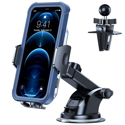 TORRAS Phone Holder for Car, [Thick Case and Big Phones Friendly] Car Phone Holder Mount for Vehicle Dashboard Windshield Air Vent, Car Phone Stand Cradle Dock Fits iPhone 12 Pro Max Galaxy S21 & All