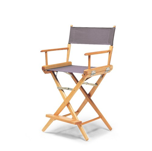 Telescope Casual World Famous Counter Height Director Chair, Grey with Varnish Frame