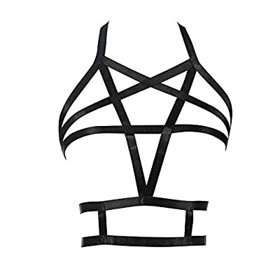 JELINDA Harness Body Accessories Black Belt Elastic Cupless Cage Bra Body for Women (2-Y063-K021)