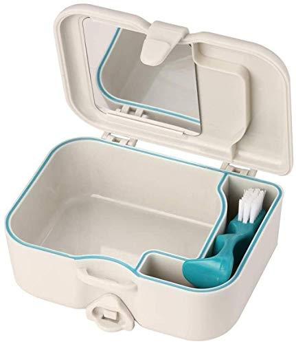 Estuche de Viaje para dentaduras postizas con Espejo y Cepillo para Limpieza de dentaduras postizas - Caja de Almacenamiento para dentaduras postizas - Estuche retenedor para cepillos de dentad