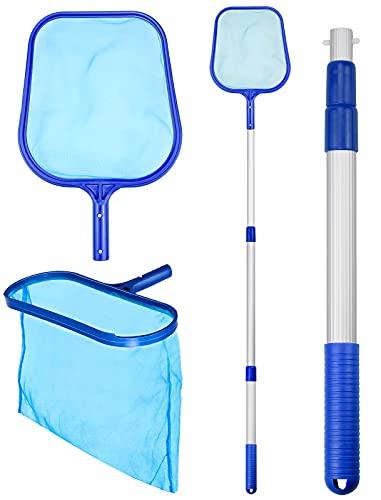 Julyee Red Limpieza Piscina Kit, 3 en 1 Limpia Superficie Piscina con Pértiga Telescópica para Piscinas Bañeras Fuente Pecera