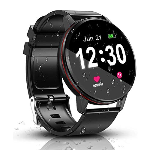 SmartWatch, IP68 Waterproof with 1.3 Inch Full Touch Screen BluetoothSmartwatch, Fitness &Activity Tracker , Heart Rate Monitor, Sleep Monitor, Pedometer Call Notification for Android & iOS (Black)