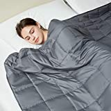L LOVSOUL Full Size Weighted Blanket 12lbs,48'x72'Dark Grey Blanket 100% Breathable Fabric Adults Blanket with Glass Beads