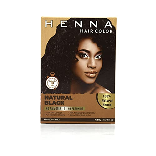 HENNA HAIR COLOR 30 Minute 100 % Enriched with Herbs Semi Permanent Powder - Harsh Chemical Free for Men and Women (Natural Black)