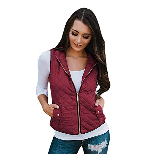 Fantastic Deal! Women Vest Jacket Sleeveless Zip Solid Open Front Cardigan Waistcoat with Pocket