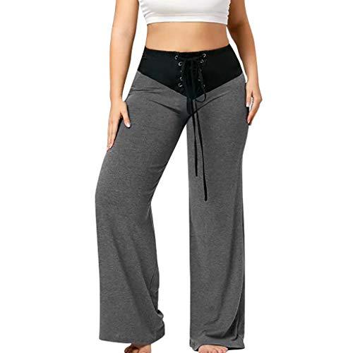 Xmiral Hosen Damen Große Nähte Schnürung Hohe Taille Lose Horn Weites Bein Hose Dünn Einfarbig Yoga Sport Jogginghose(Grau,XXL)