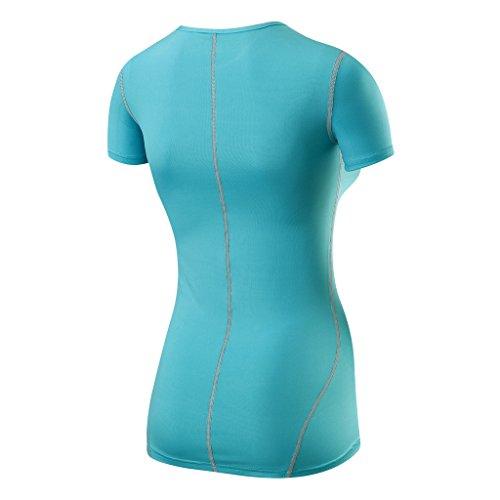 TCA Superthermal Quickdry Damen Laufshirt/Funktionsshirt mit Rundhalsausschnitt – Hellblau, XL - 2