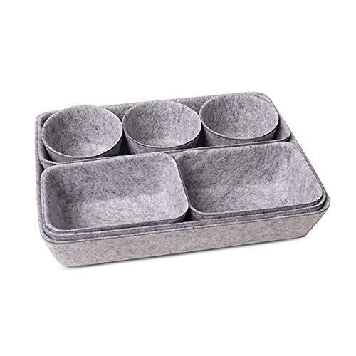 XGzhsa Filz Aufbewahrungsbox Grau, Schubladenteiler, 8 Filz-Desktop-Speicherorganisatoren Schubladenunterteilungen für Kosmetika, Schreibwaren, Schmuck, Snacks, Pflanzen und mehr (grau)