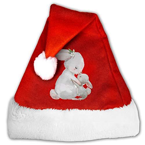 CZLXD Weihnachtsmütze mit Hase, Polyester, rot, M