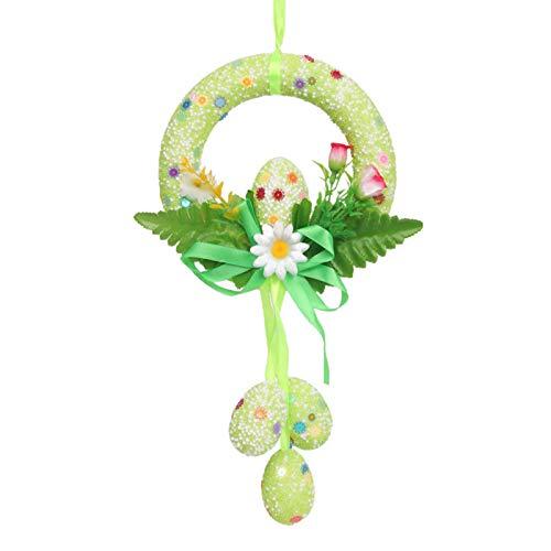 Verliked Garland Flower Design Delicate Decoration Leaves Shape Easter Eggs Wreath for Shop -Random Color