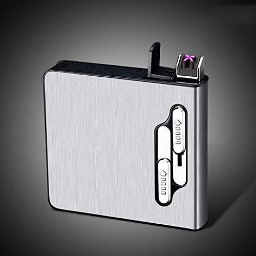 YyiHan Mechero Electrico, Pitillera Automática Encendedor USB De Carga De Doble Arco Más Ligero, a Prueba De Viento Encendedor Sin Llama, Puede Contener 20 Cigarrillos Regulares