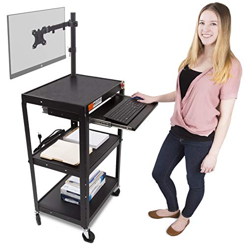 Line Leader AV Cart with Keyboard Tray and Monitor Mount - Mobile...