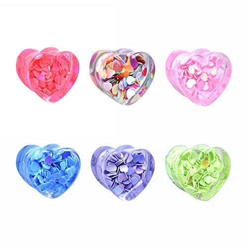 Jboyanpei Lentejuelas en forma de corazón de colores tapones para los oídos Túneles de acrílico del ensanchador del oído del calibre Expander Size8mm a 25mm