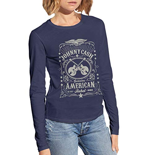 Johnny Cash American Rebel Womans Cotton Long Sleeve Tee L Navy