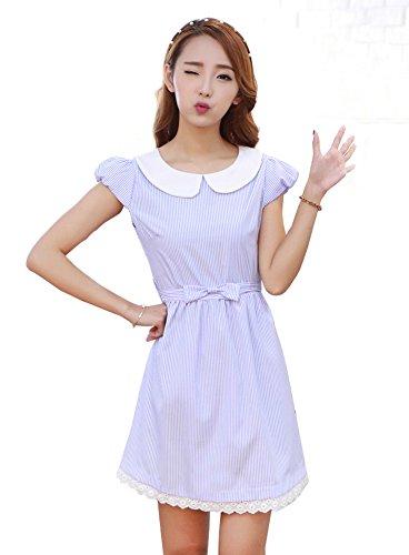 TULIPTREND Women's Fresh Doll Collar Short Sleeve Dress Light Blue US Medium/Asian Large