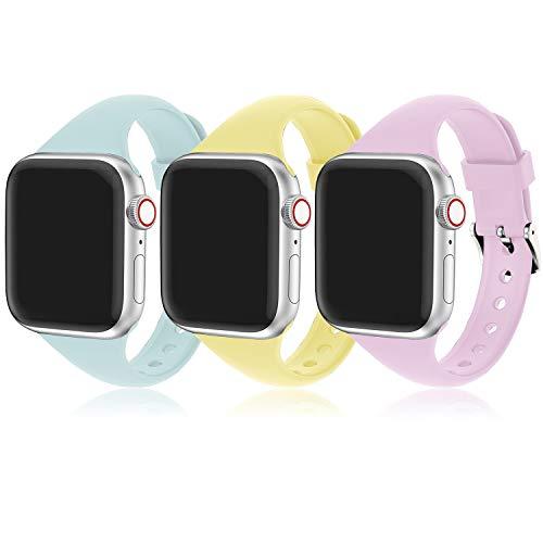 Supore Correa Apple Watch, Compatible con Apple Watch 44 mm 38 mm 42 mm 40 mm, Correa de Repuesto Deportiva Silicona Suave Ultrafina de Adecuada para Apple Watch SE/iWatch Series 6 5 4 3 2 1 (3 Pack)