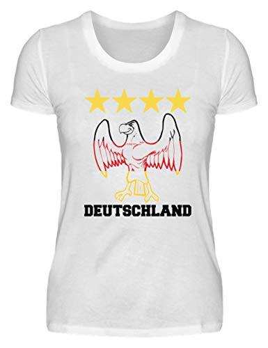 Deutschland WM Fan Tshirt Deutsche Nationalmannschaft Shirt Trikot Adler 4 Sterne - Damenshirt -S-Weiß