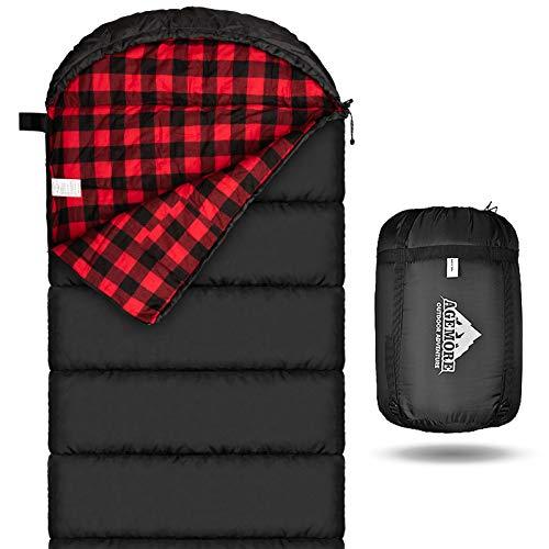 Mcota Saco de dormir de franela de algodón para adultos, 100% forro de algodón, saco de dormir para camping, senderismo, viajes, ligero y portátil, 3 – 4 estaciones de uso en clima cálido (negro/rojo)