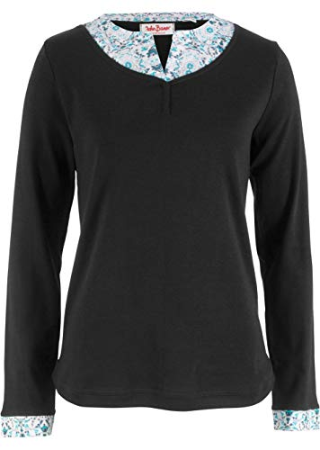 Damen Shirt in Doppeloptik Langarm, 247829 in Schwarz 32/34