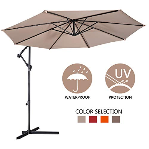 Giantex 10ft Offset Hanging Patio Umbrella, Outdoor Market Umbrellas w/Crank Lift & Cross Base, Easy Adjustment, Polyester Shade, Cantilever Umbrella for Backyard, Poolside, Lawn and Garden