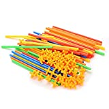 Building Construction Toys, MUMAX 100 pcs Safe Straws and Connectors Set Fun Educational Construction Blocks Best Gift for Kids Boys and Girls