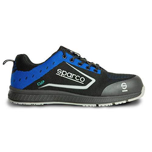 Sparco Cup S1P - Zapatillas de Seguridad ultraligeras, Tejido Transpirable, Color Negro y Azul