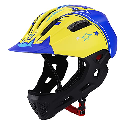 HVW Niños Casco de Bicicleta de Cara Completa, Casco de Bicicleta de Bicicleta con Luces traseras Detachable Chin Guard Cycling Bike Casco de Bicicleta 5-14 Chicas Boys Scooter Casco,B
