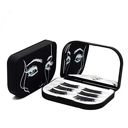 YiQiYi Cosmetic Case Empty Eyelashes Storage Case with Makeup Mirror Holder Box Fake Eyelash Packing Travel Storage Case Eyelashes Bag(Black)