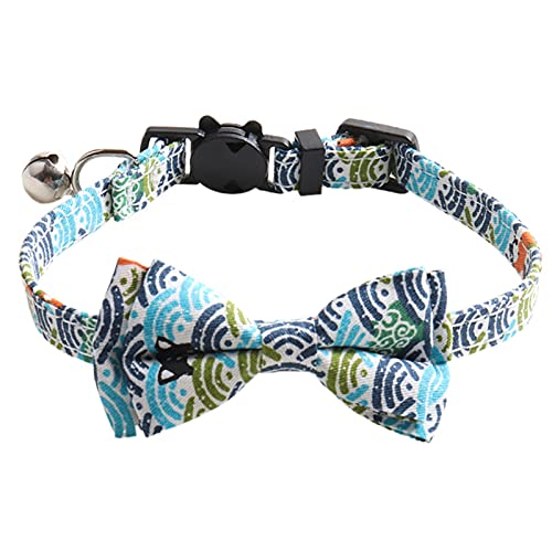 ENticerowts Pet Cats Collar Kitten Bowknot Collar Necklace with Bell Adjustable Japanese Style Wear-Resistant Blue