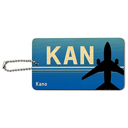 Kano Nigeria (KAN) Airport Code Wood ID Tag Luggage Card Suitcase Carry-On