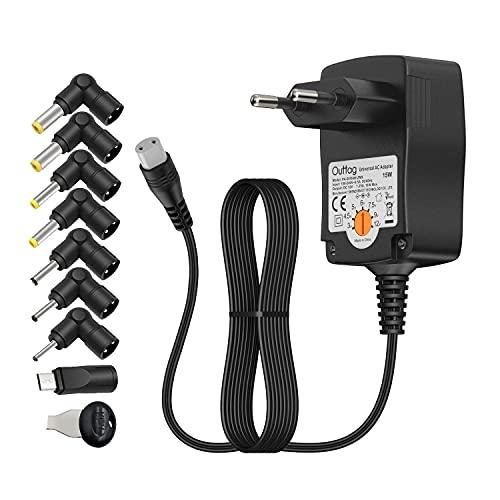 Outtag Cargador Universal de 15W, Adaptador multivoltaje: 3V 4,5V 6V 7,5V 9V 12V y 8 Conectores Europeos para aparatos domésticos, Bluetooth, routers, cámara LED, lámparas