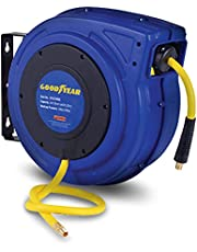 """Goodyear Air Hose Reel Retractable 3/8"""" Inch x 65' Feet Premium Commercial Flex Hybrid Polymer Hose Max 300 Psi Heavy Duty Spring Driven Polypropylene Construction w/ Lead-in Hose and PVC Handle"""