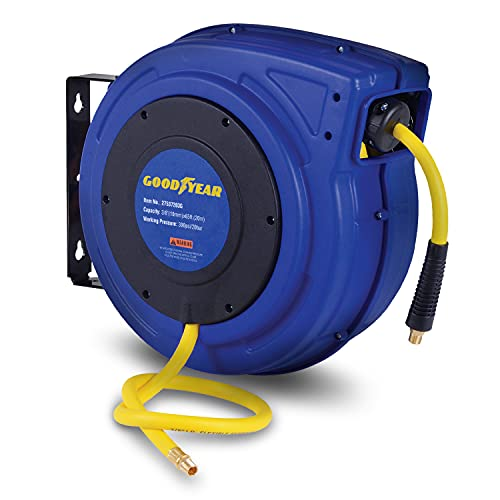 Goodyear Air Hose Reel Retractable 3/8' Inch x 65' Feet Premium Commercial Flex Hybrid Polymer Hose Max 300 Psi Heavy Duty Spring Driven Polypropylene Construction w/ Lead-in Hose and PVC Handle