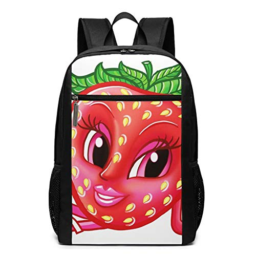 School Backpack Fruit Cartoon Funny Strawberry Smiling, College Book Bag Business Travel Daypack Casual Rucksack for Men Women Teenagers Girl Boy