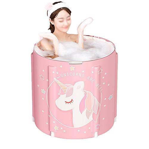 CMYY Tragbare Falten Badewanne, Klappbare Erwachsener Badebottich-Haushalt Bad Eimer Badewanne Ganzkörper Pool Badewanne Rosa 70 * 65cm,Package 4
