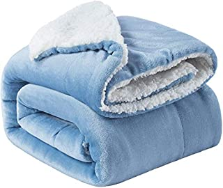 BSB HOME Plain Double Layer Warm and Hot Super Soft Flannel Sherpa Winter Blanket for Born Baby (40 x 50 Inches, Crib Sky ...