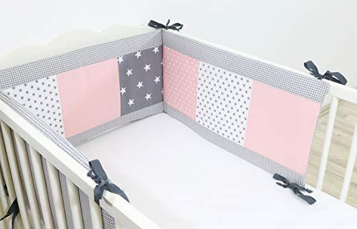 Baby Bettumrandung 70x140 cm | Made in EU | ÖkoTex 100 | Schadstoffgeprüft | Antiallergisch | Baby Nestchen für den Kopfbereich | Babynest | Umrandung Babybett | Rosa Grau | ULLENBOOM ®