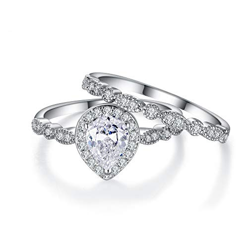 EVER FAITH Bridal Jewelry Gorgeous Cubic Zirconia Pear Shaped Teardrop Engagement Cocktail Ring Set Size 8