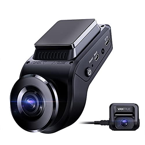 Vantrue S1 4K cámara de salpicadero oculta incorporada velocidad GPS, cámara frontal y trasera dual 1080P con modo de estacionamiento 24/7, visión nocturna de Sony, frontal individual 60fps, condensador, sensor G, soporte 256GB Max para camiones